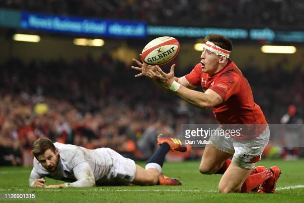 Josh Adams of Wales touches down for the second Wales try during the Guinness Six Nations match between Wales and England at Principality Stadium on...