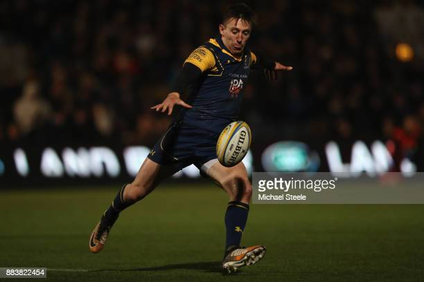 Josh Adams of Worcester during the Aviva Premiership match between Worcester Warriors and Sale Sharks at Sixways Stadium on December 1 2017 in...
