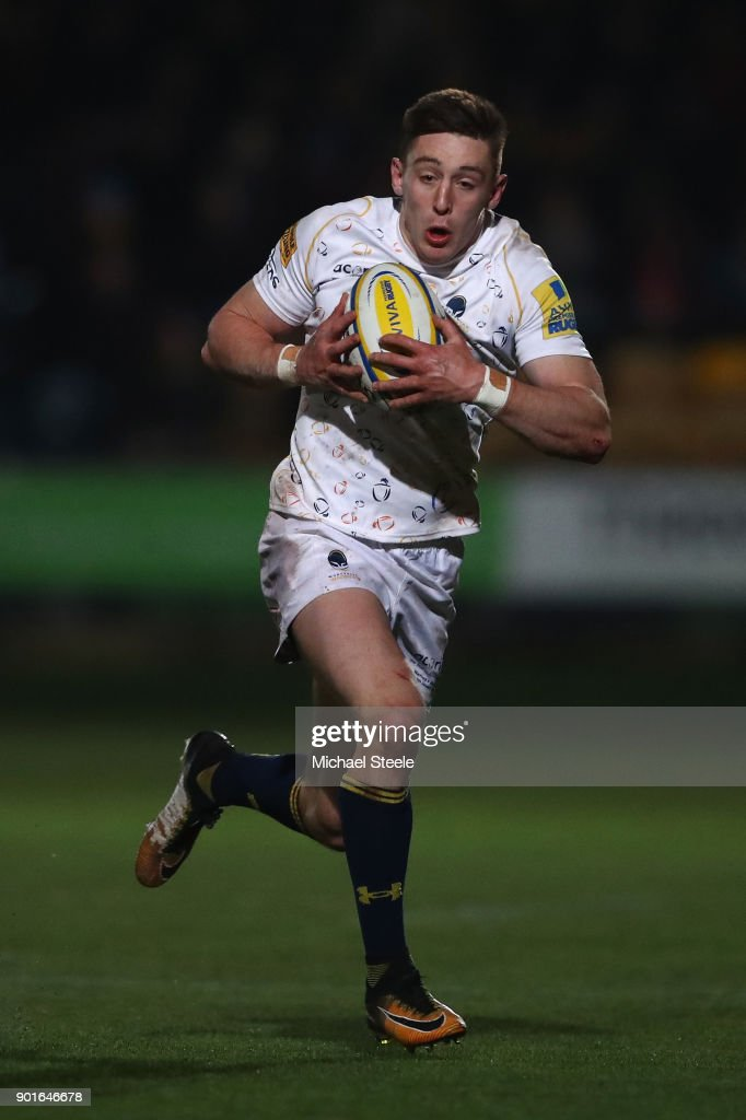 Josh Adams of Worcester during the Aviva Premiership match between Worcester Warriors and Bath Rugby at Sixways Stadium on January 5, 2018 in Worcester, England.