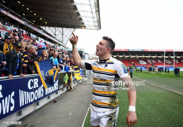 Josh Adams of Worcester Warriors celebrates victory over Bristol Bears during the Gallagher Premiership Rugby match between Bristol Bears and...
