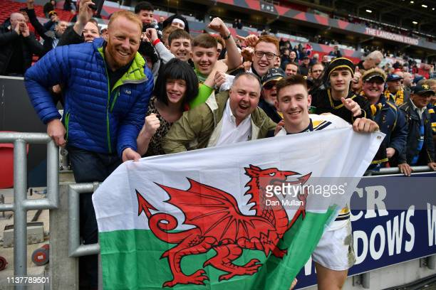 Josh Adams of Worcester Warriors celebrates victory with supporters following the Gallagher Premiership Rugby match between Bristol Bears and...