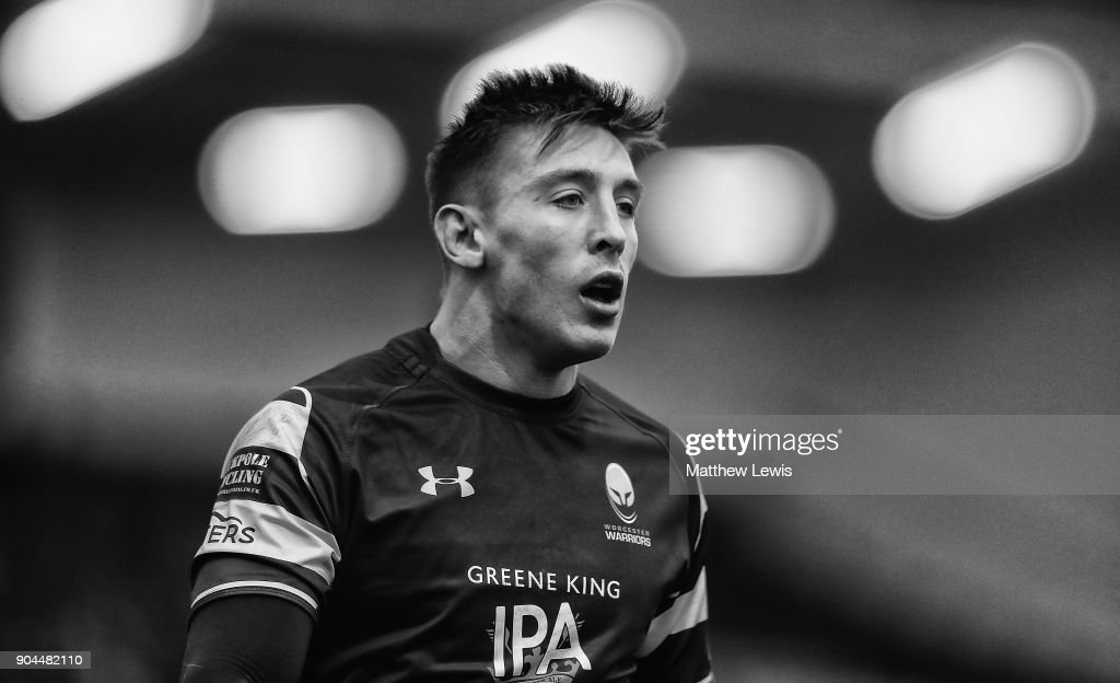 Josh Adams of Worcester Warriors looks on during the European Rugby Challenge Cup match between Worcester Warriors and Connacht Rugby on January 13, 2018 in Worcester, United Kingdom.