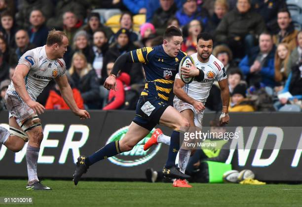 Josh Adams of Worcester Warriors makes a break during the AngloWelsh Cup match between Worcester Warriors and Exeter Chiefs at Sixways Stadium on...