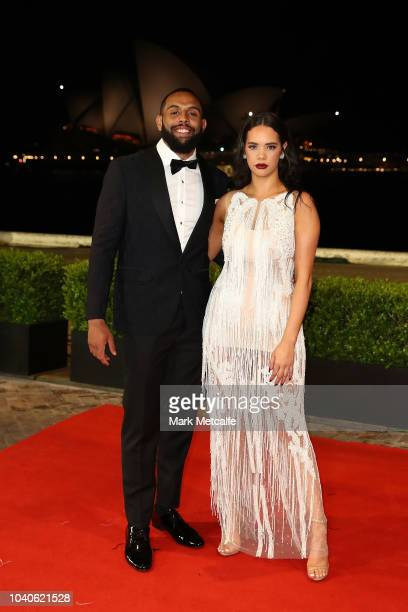 Josh AddoCarr and partner Lakaree Smith arrives at the 2018 Dally M Awards at Overseas Passenger Terminal on September 26 2018 in Sydney Australia