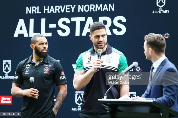 Josh AddoCarr andÊJesse Bromwich Êspeak on stage for the NRL AllStars Media Announcement at AAMI Park on August 20 2018 in Melbourne Australia