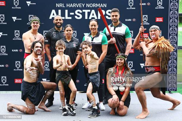 Josh AddoCarr ÊJesse Bromwich ÊNakia DavisWelsh ÊHoney Hireme Êpose for the NRL AllStars Media Announcementat AAMI Park on August 20 2018 in...