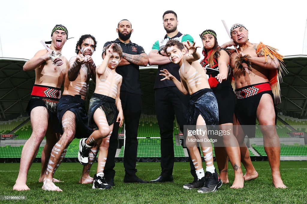 Josh Addo-Carr (Melbourne Storm)ÊJesse Bromwich (Melbourne Storm)Êpose for the NRL All-Stars Media Announcementat AAMI Park on August 20, 2018 in Melbourne, Australia.