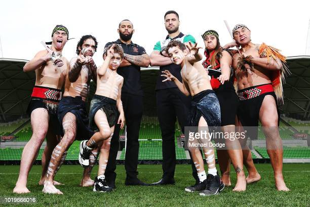 Josh AddoCarr ÊJesse Bromwich Êpose for the NRL AllStars Media Announcementat AAMI Park on August 20 2018 in Melbourne Australia