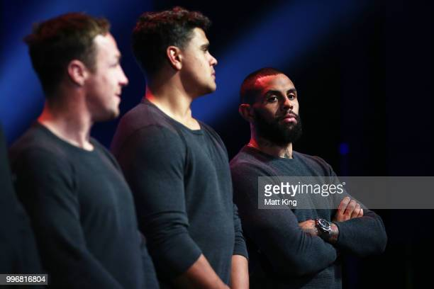 Josh AddoCarr looks on during a New South Wales Blues public reception after winning the 2018 State of Origin series at The Star on July 12 2018 in...
