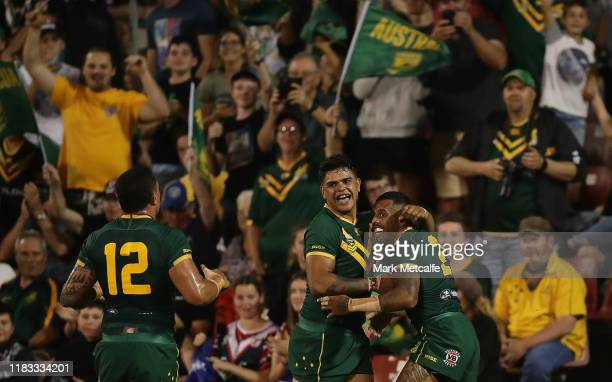 Josh Addo-Carr of Australia celebrates scoring a try with team mate Latrell Mitchell of Australia during the International Rugby League Test Match...