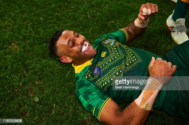 Josh AddoCarr of Australia celebrates victory during the Final Rugby League World Cup 9s match between Australia and New Zealand at Bankwest Stadium...