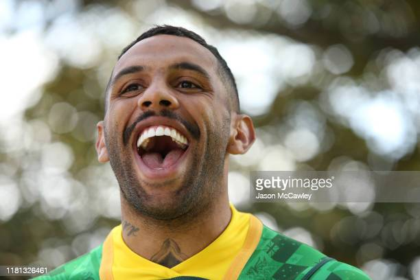 Josh Addo-Carr of Australia during the Rugby League World Nines media opportunity at the Royal Botanic Gardens on October 16, 2019 in Sydney,...