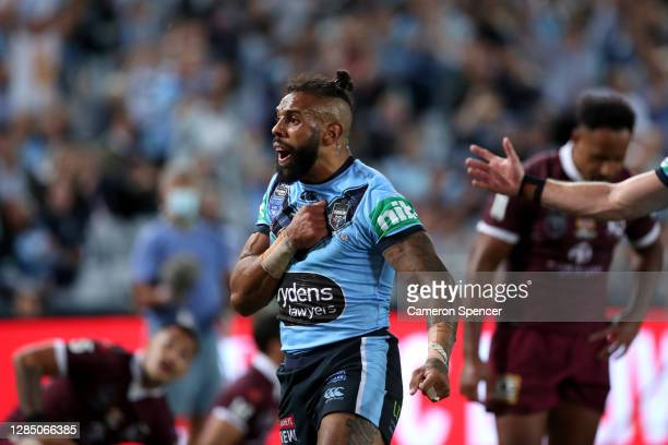 Josh Addo-Carr of the Blues celebrates after scoring a try during game two of the 2020 State of Origin series between the New South Wales Blues and...