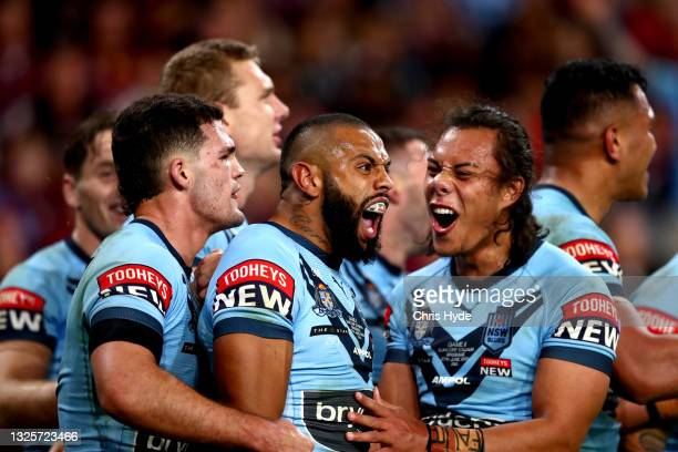 Josh Addo-Carr of the Blues celebrates after scoring a try with Jarome Luai of the Blues during game two of the 2021 State of Origin series between...