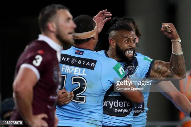 Josh Addo-Carr of the Blues celebrates after scoring his second try during game two of the 2020 State of Origin series between the New South Wales...