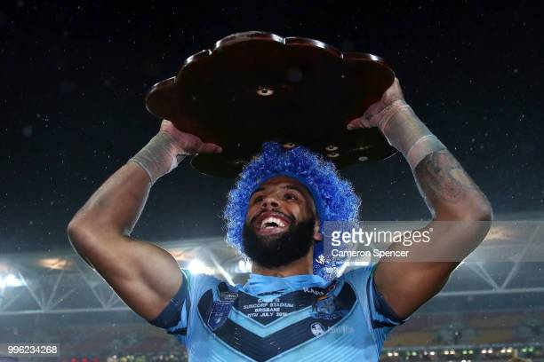 Josh AddoCarr of the Blues celebrates with fans after winning the series following game three of the State of Origin series between the Queensland...