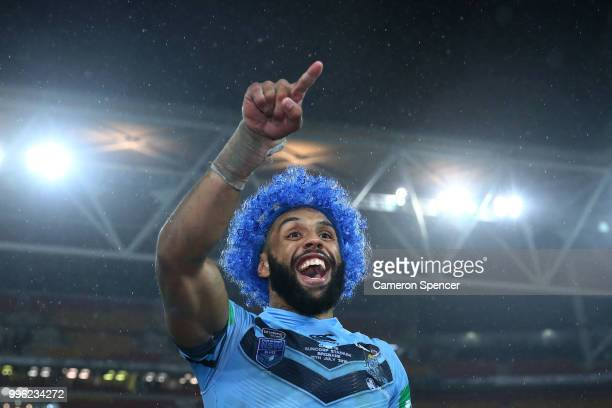 Josh Addo-Carr of the Blues celebrates with fans after winning the series following game three of the State of Origin series between the Queensland...