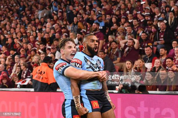 Josh Addo-Carr of the Blues celebrates with team mate Cameron Murray of the Blues after scoring a try during game two of the 2021 State of Origin...