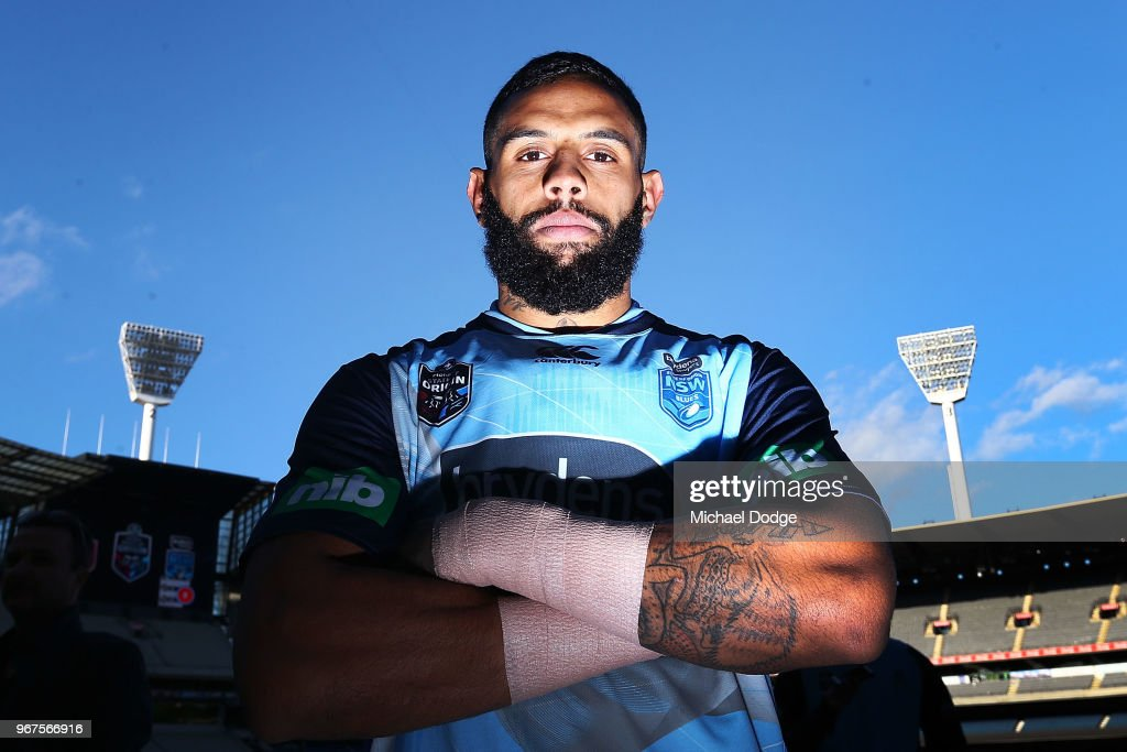 Josh Addo-Carr of the Blues poses during a New South Wales Blues State of Origin Captain's Run at the Melbourne Cricket Ground on June 5, 2018 in Melbourne, Australia.