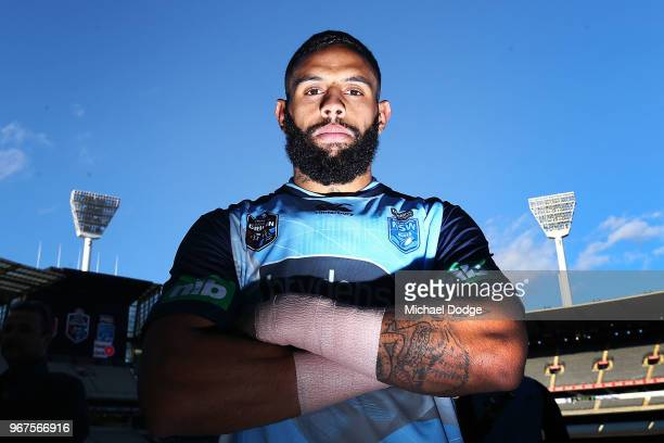 Josh Addo-Carr of the Blues poses during a New South Wales Blues State of Origin Captain's Run at the Melbourne Cricket Ground on June 5, 2018 in...