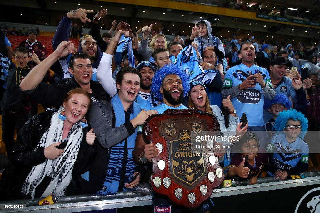 Josh Addo-Carr of the Blues poses with fans after winning the series following game three of the State of Origin series between the Queensland Maroons and the New South Wales Blues at Suncorp Stadium on July 11, 2018 in Brisbane, Australia.