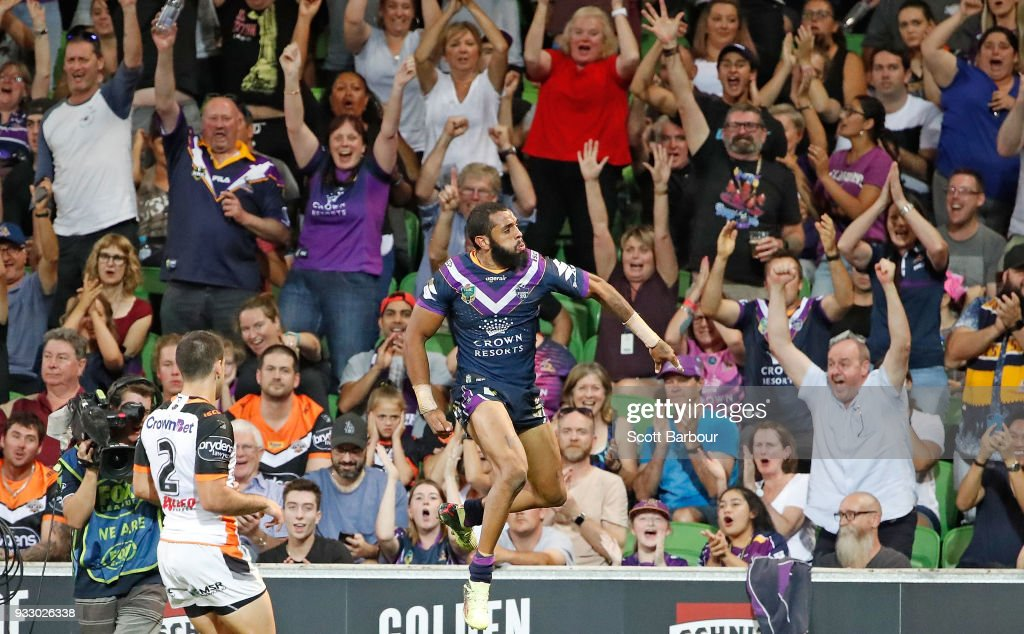 Josh Addo-Carr of the Melbourne Storm celebrates scoring a try which was later disallowed during the round two NRL match between the Melbourne Storm and the Wests Tigers at AAMI Park on March 17, 2018 in Melbourne, Australia.