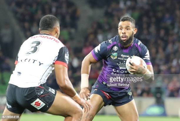 Josh AddoCarr of the Melbourne Storm runs with the ball during the round eight NRL match between the Melbourne Storm and the New Zealand Warriors at...
