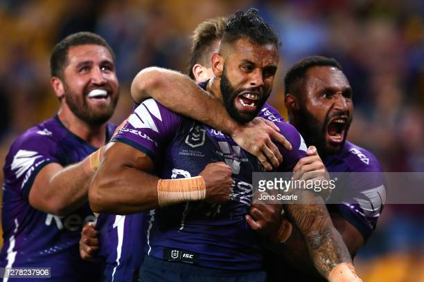 Josh Addo-Carr of the Storm celebrates a try with team mates during the NRL Qualifying Final match between the Melbourne Storm and the Parramatta...