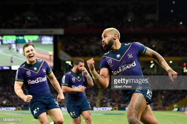 Josh Addo-Carr of the Storm celebrates after scoring a try during the round 10 NRL match between the Melbourne Storm and the St George Illawarra...