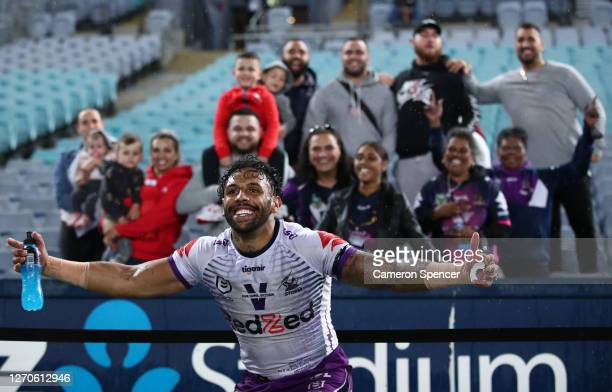 Josh Addo-Carr of the Storm celebrates after the Storm defeated the Rabbitohs during the round 17 NRL match between the South Sydney Rabbitohs and...