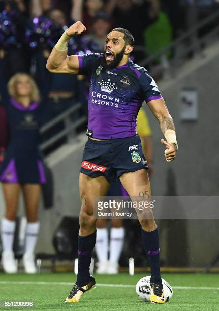 Josh AddoCarr of the Storm celebrates scoring a try during the NRL Preliminary Final match between the Melbourne Storm and the Brisbane Broncos at...