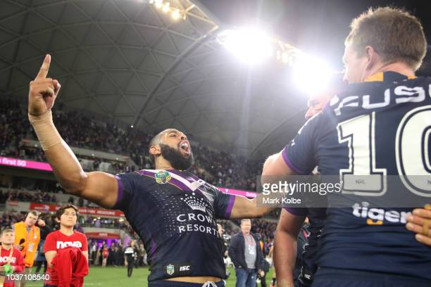 Josh AddoCarr of the Storm celebrates winning the NRL Preliminary Final match between the Melbourne Storm and the Cronulla Sharks at AAMI Park on...