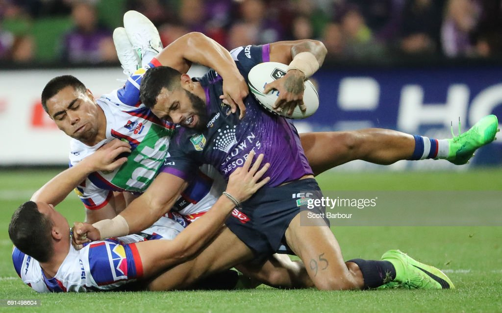 Josh Addo-Carr of the Storm is tackled during the round 13 NRL match between the Melbourne Storm and the Newcastle Knights at AAMI Park on June 2, 2017 in Melbourne, Australia.
