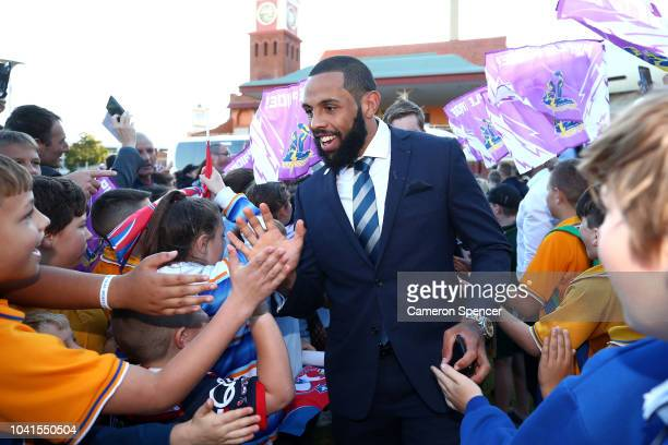 Josh AddoCarr of the Storm is welcomed by fans during the 2018 NRL Fan Day at the Entertainment Quarter on September 27 2018 in Sydney Australia