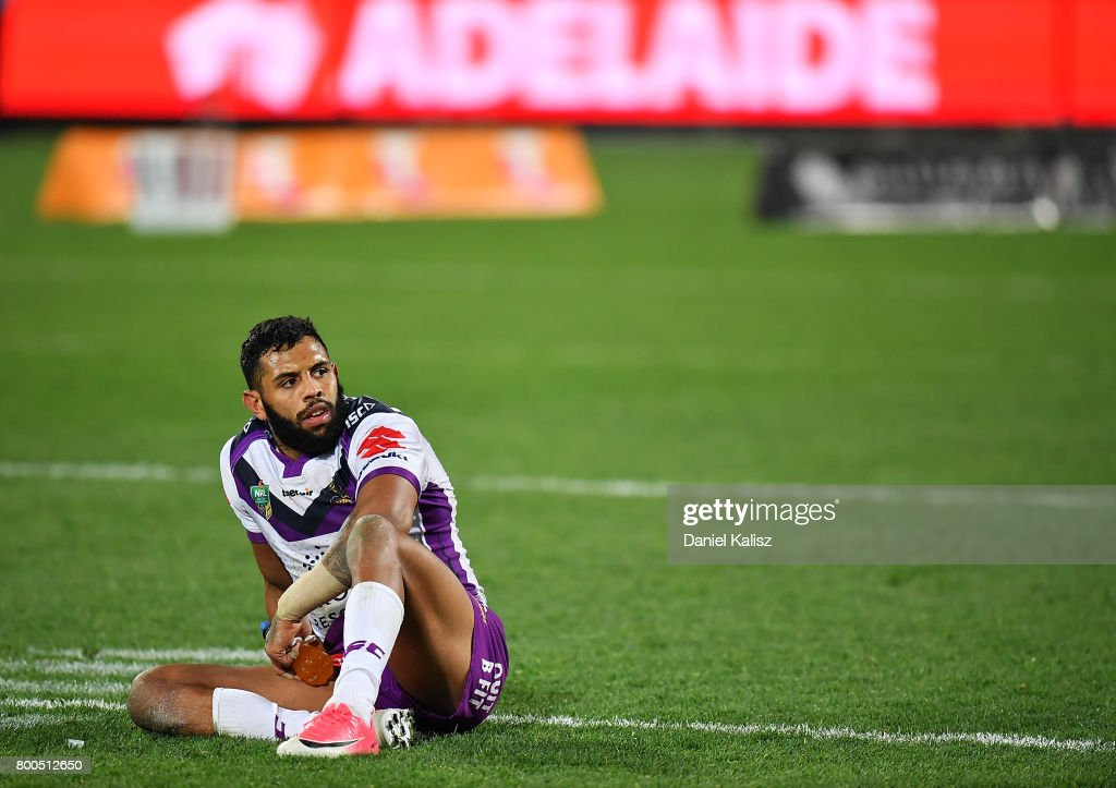 Josh Addo-Carr of the Storm looks on dejected after the final whistle during the round 16 NRL match between the Sydney Roosters and the Melbourne Storm at Adelaide Oval on June 24, 2017 in Adelaide, Australia.