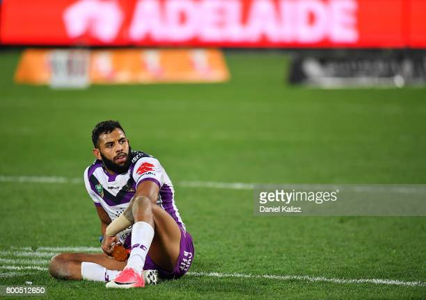 Josh AddoCarr of the Storm looks on dejected after the final whistle during the round 16 NRL match between the Sydney Roosters and the Melbourne...