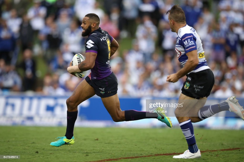 Josh Addo-Carr of the Storm makes a break during the round one NRL match between the Canterbury Bulldogs and the Melbourne Storm at Belmore Sports Ground on March 3, 2017 in Sydney, Australia.