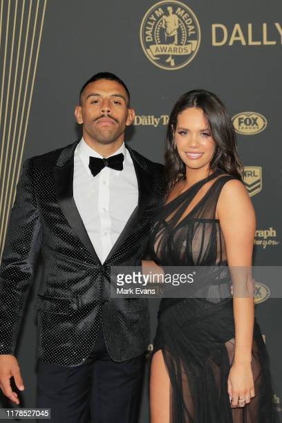 Josh Addo-Carr of the Storm poses with Lakaree Smith ahead of the 2019 Dally M Awards at the Hordern Pavilion on October 02, 2019 in Sydney,...