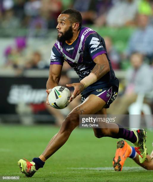 Josh AddoCarr of the Storm runs with the ball during the round six NRL match between the Melbourne Storm and the Newcastle Knights at AAMI Park on...