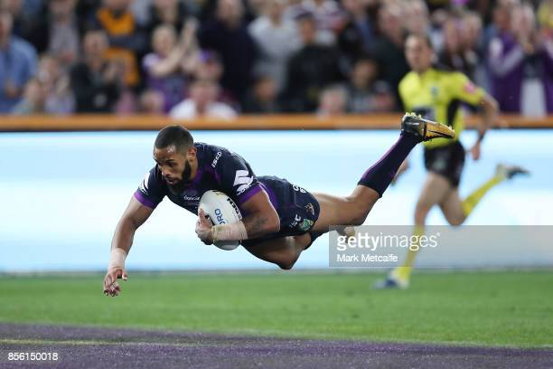 Josh AddoCarr of the Storm scores a try during the 2017 NRL Grand Final match between the Melbourne Storm and the North Queensland Cowboys at ANZ...