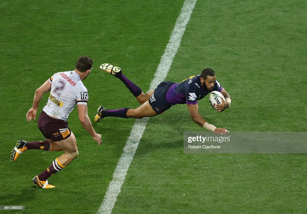 Josh Addo-Carr of the Storm scores a try during the NRL Preliminary Final match between the Melbourne Storm and the Brisbane Broncos at AAMI Park on September 22, 2017 in Melbourne, Australia.