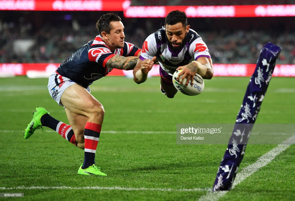 Josh Addo-Carr of the Storm scores a try during the round 16 NRL match between the Sydney Roosters and the Melbourne Storm at Adelaide Oval on June 24, 2017 in Adelaide, Australia.