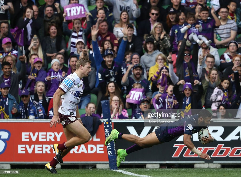 Josh Addo-Carr of the Storm scores a try during the round 21 NRL match between the Melbourne Storm and the Manly Sea Eagles at AAMI Park on July 30, 2017 in Melbourne, Australia.