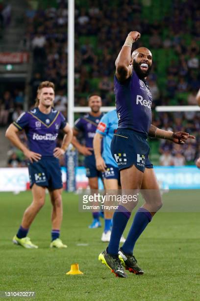 Josh Addo-Carr of there Storm celebrates during the round four NRL match between the Melbourne Storm and the Brisbane Broncos at AAMI Park, on April...