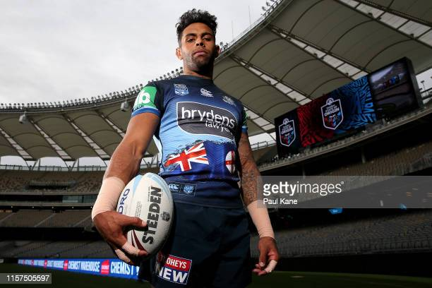 Josh AddoCarr poses during a New South Wales Blues State of Origin captain's run at Optus Stadium on June 22 2019 in Perth Australia