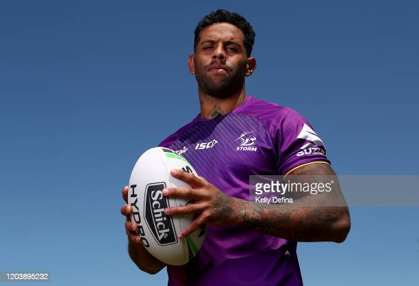 Josh Addo-Carr poses for a portrait during a Melbourne Storm NRL media opportunity & training session at Gosch's Paddock on February 04, 2020 in...
