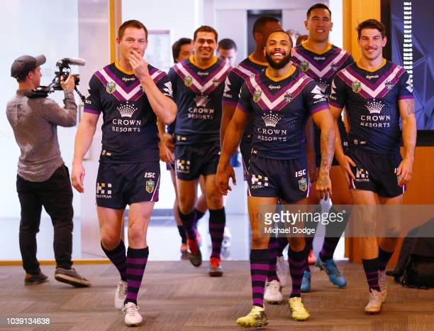 Josh AdoCarr of the Storm leads the team out during a Melbourne Storm NRL media opportunity at AAMI Park on September 24 2018 in Melbourne Australia