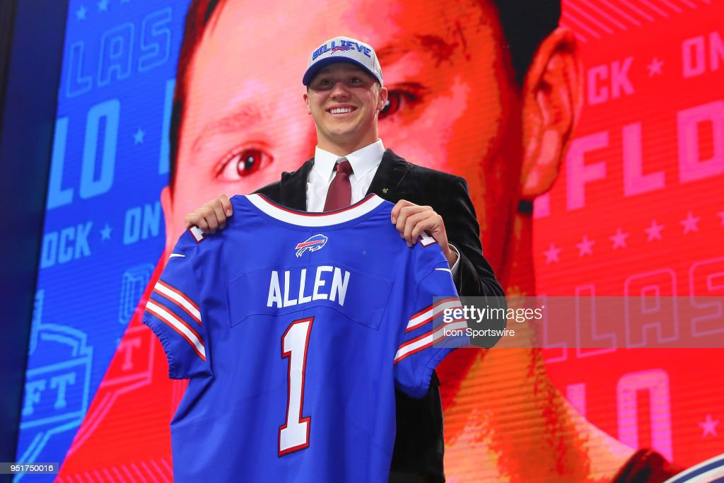 Josh Allen chosen as the seventh overall pick by the Buffalo Bills poses for photos during the first round at the 2018 NFL Draft at AT&T Statium on April 26, 2018 at AT&T Stadium in Arlington Texas.