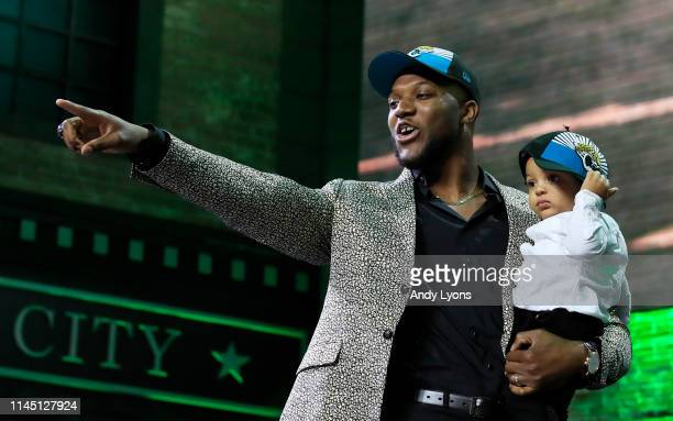 Josh Allen of Kentucky reacts after being chosen overall by the Jacksonville Jaguars during the first round of the 2019 NFL Draft on April 25 2019 in...