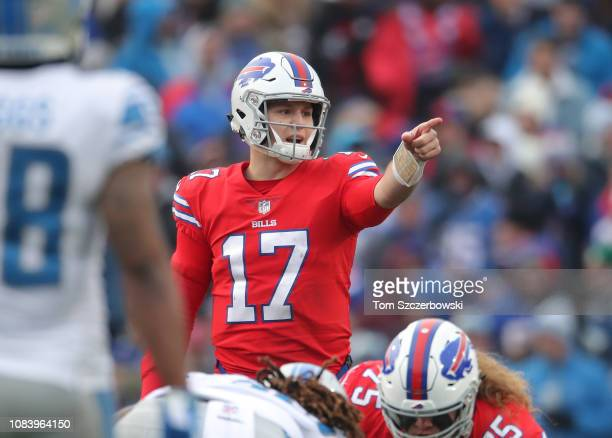 Josh Allen of the Buffalo Bills calls an audible in the third quarter during NFL game action against the Detroit Lions at New Era Field on December...